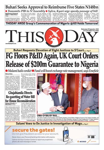 Wednesday 30th September 2020 By Thisday Newspapers Ltd Issuu