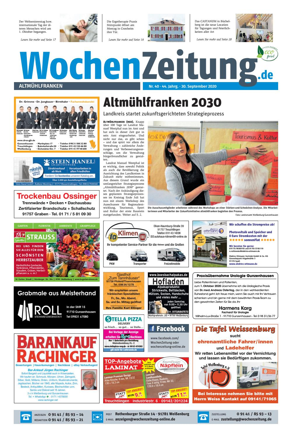 Wochenzeitung Altmuehlfranken Kw 40 20 By Wochenzeitung Sonntagszeitung Issuu