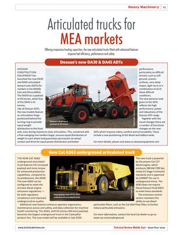 Articulated trucks for MEA markets
