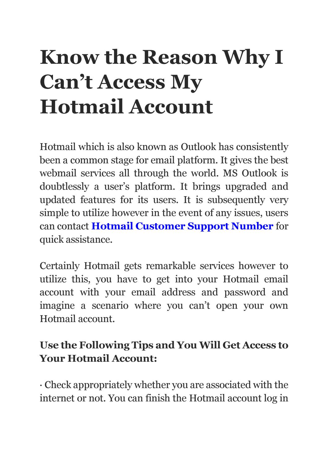 Know The Reason Why I Can T Access My Hotmail Account By Ehowtech Issuu