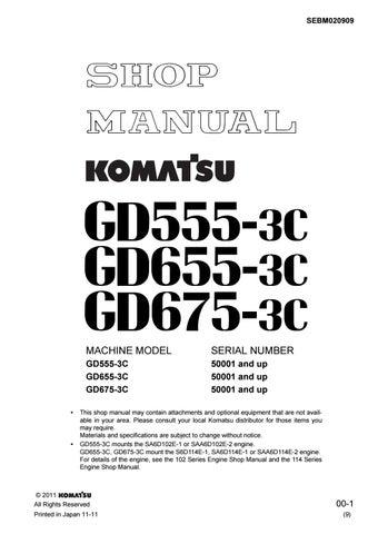 Komatsu Gd555 3c Gd655 3c Gd675 3c Motor Grader Shop Manual 50001 And Up Pdf Download By Heydownloads Issuu