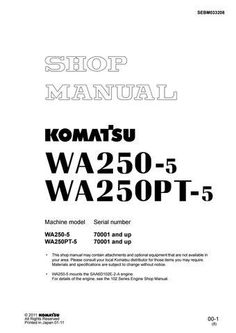 Komatsu Wa250 5 Wa250pt 5 Wheel Loader Shop Manual Pdf Download By Heydownloads Issuu