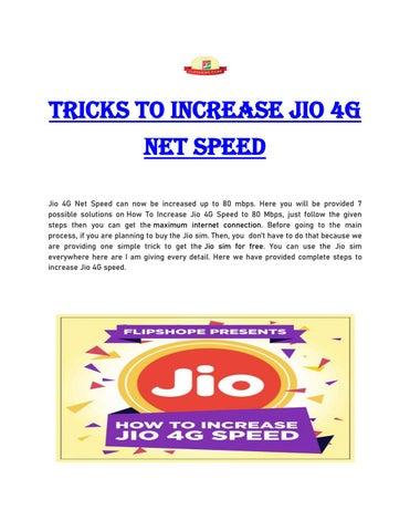 Tricks To Increase Jio 4g Net Speed By Rashijain9090 Issuu