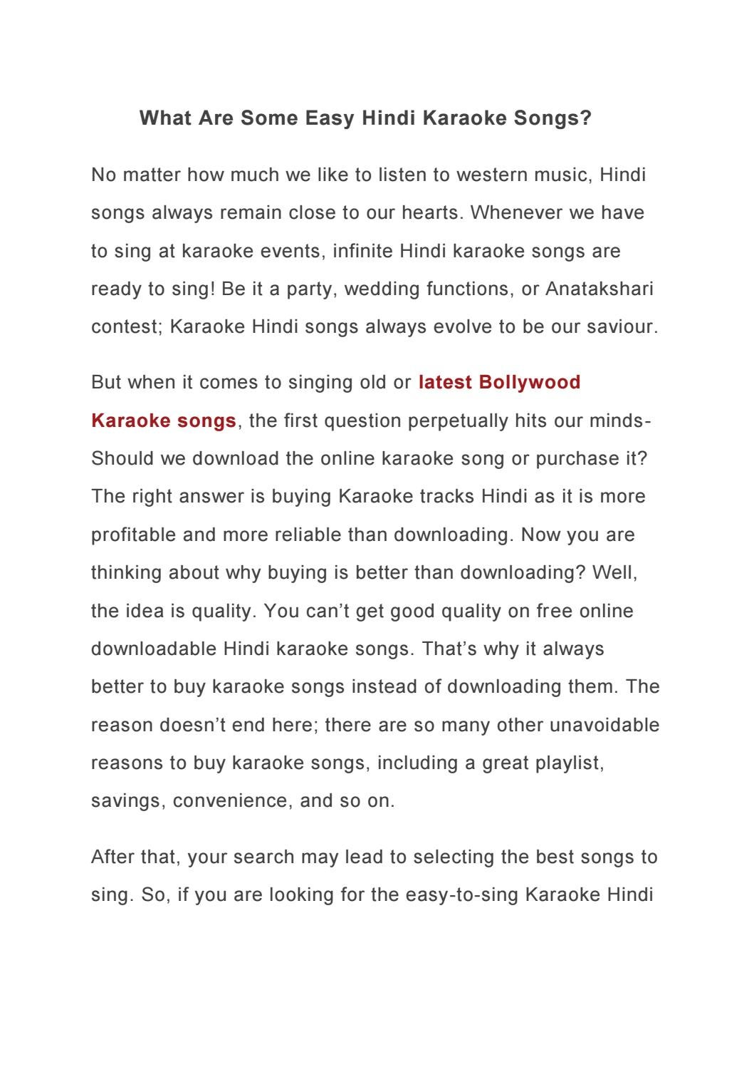 What Are Some Easy Hindi Karaoke Songs By Hindi Karaoke Shop Issuu Try not to sing along challenge try to watch this without singing or dancing challenge if you sing or dance you lose. what are some easy hindi karaoke songs