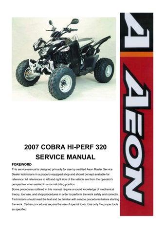 Aeon Cobra 320 Atv Shop Manual 2007 2011 by heydownloads - issuu   Aeon Atv Wiring Schematics      Issuu