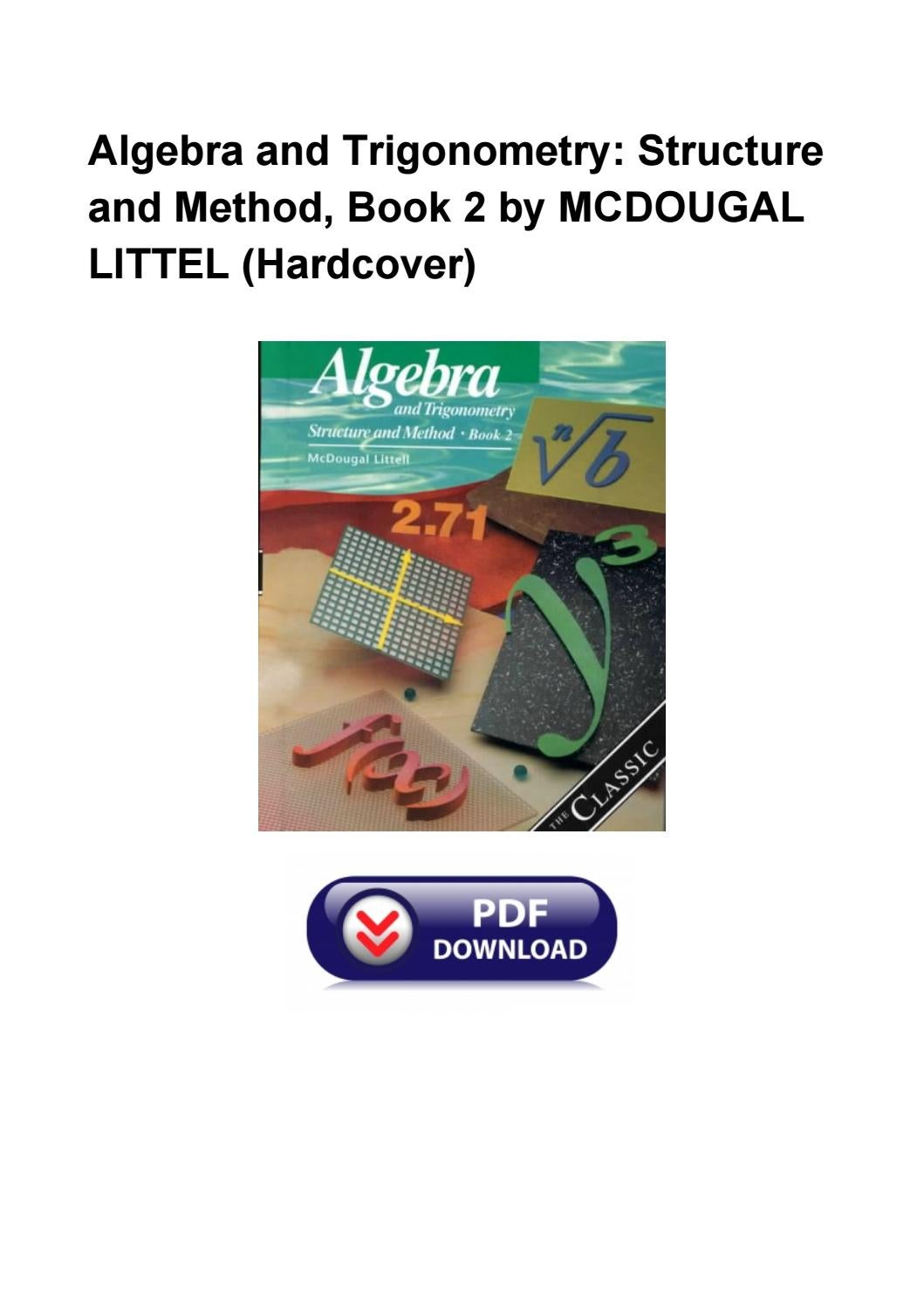 Algebra And Trigonometry Structure And Method Book 2 By Mcdougal Littel Hardcover By Dorothywarker Issuu