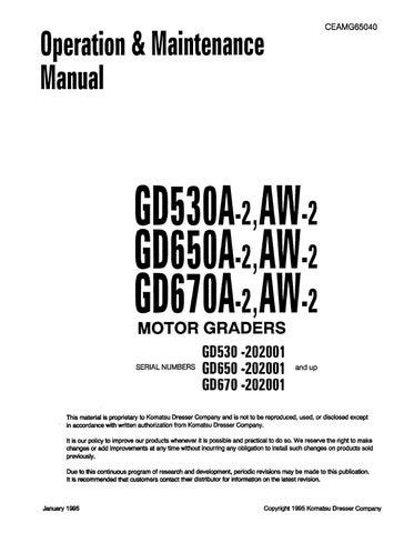Komatsu Gd530 650 670 A Aw 2 Motor Graders Operation Maintenance Manual Pdf Download By Heydownloads Issuu