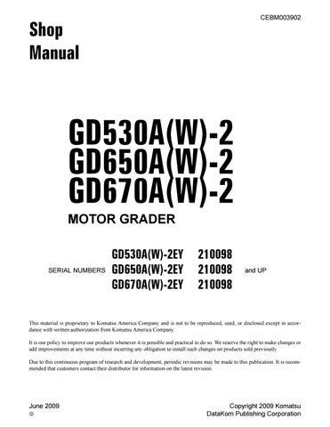 Komatsu Gd530a W 2 Gd650a W 2 Gd670a W 2 Motor Grader Service Repair Manual Sn 210098 And Up Pdf By Heydownloads Issuu