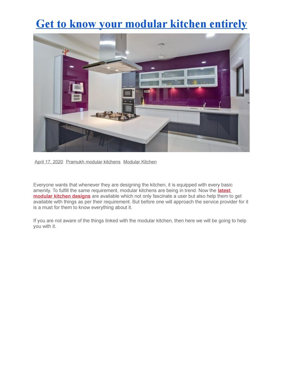 Get to know your modular kitchen entirely by contactpramukhmodular ...