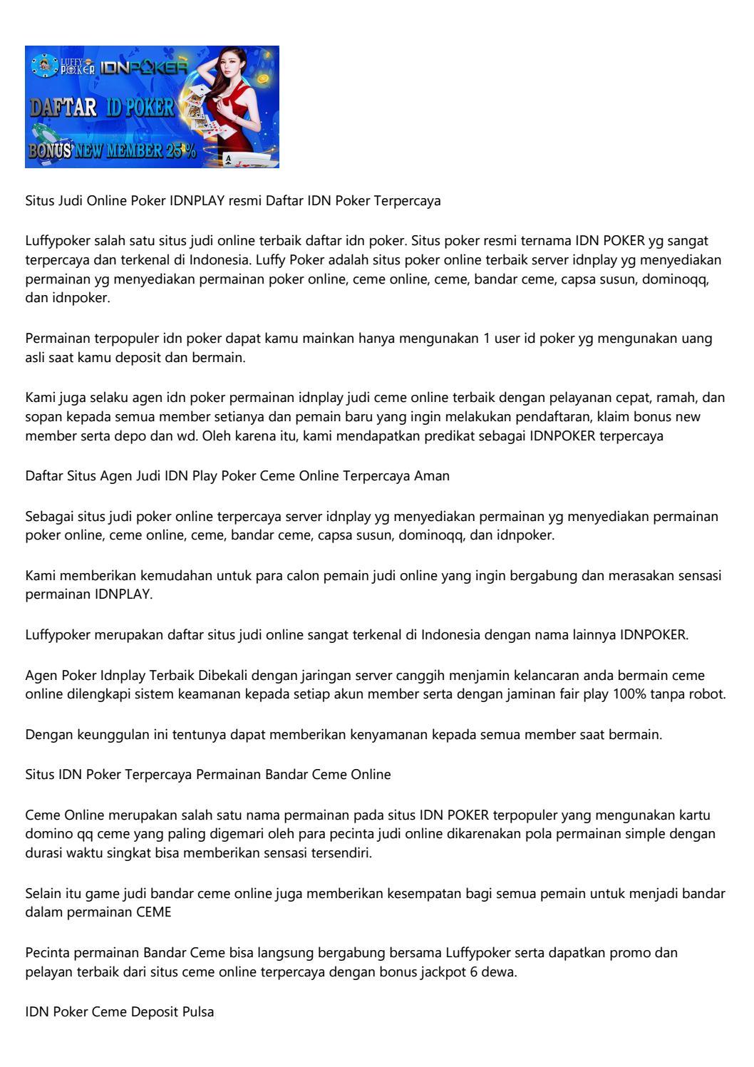 Idnplay Idn Poker Ceme Online Daftar Idn Poker By U7fuskv012 Issuu