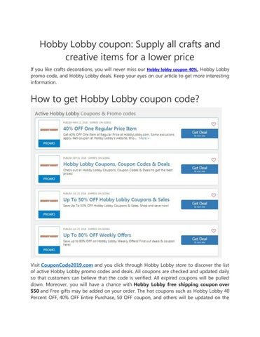 Hobby Lobby 40 Off Entire Purchase By Alie99 Issuu