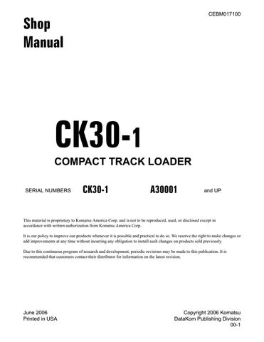 Komatsu Ck30 1 Compact Track Loader Service Repair Manual Sn A30001 Up Komatsu Ck30 1 Pdf By Heydownloads Issuu