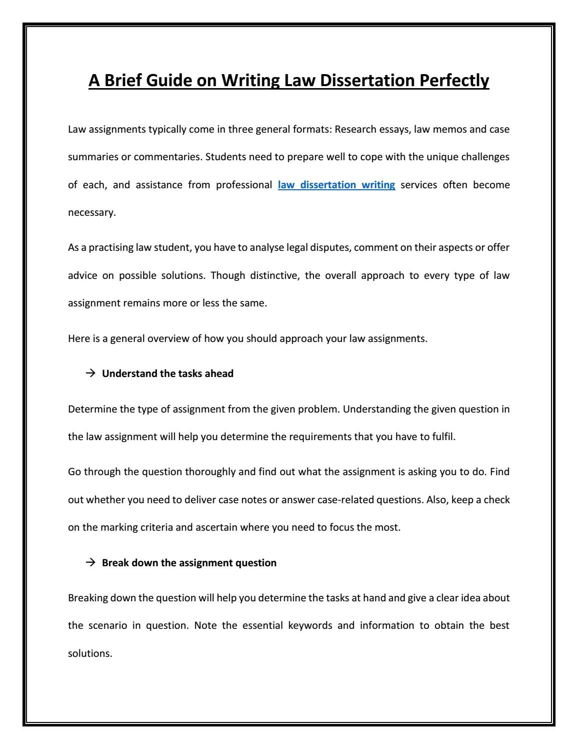 Law dissertation guidelines for research paper writing