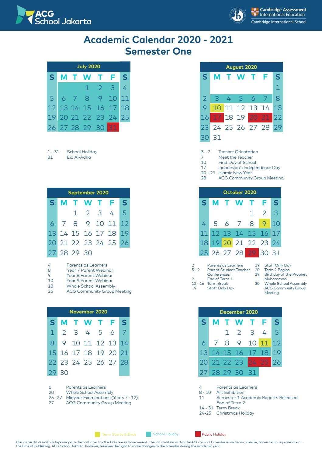 2021 Semester Calendar Images