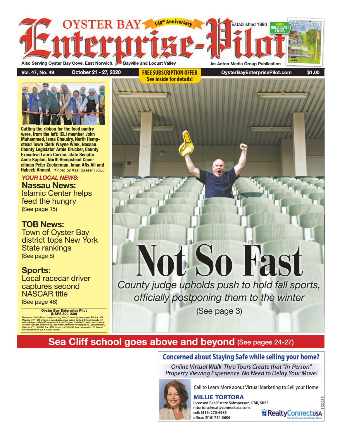 Oyster Bay Enterprise Pilot 10 21 2020 Edition Is Published Weekly By Anton Media Group By Anton Community Newspapers Issuu