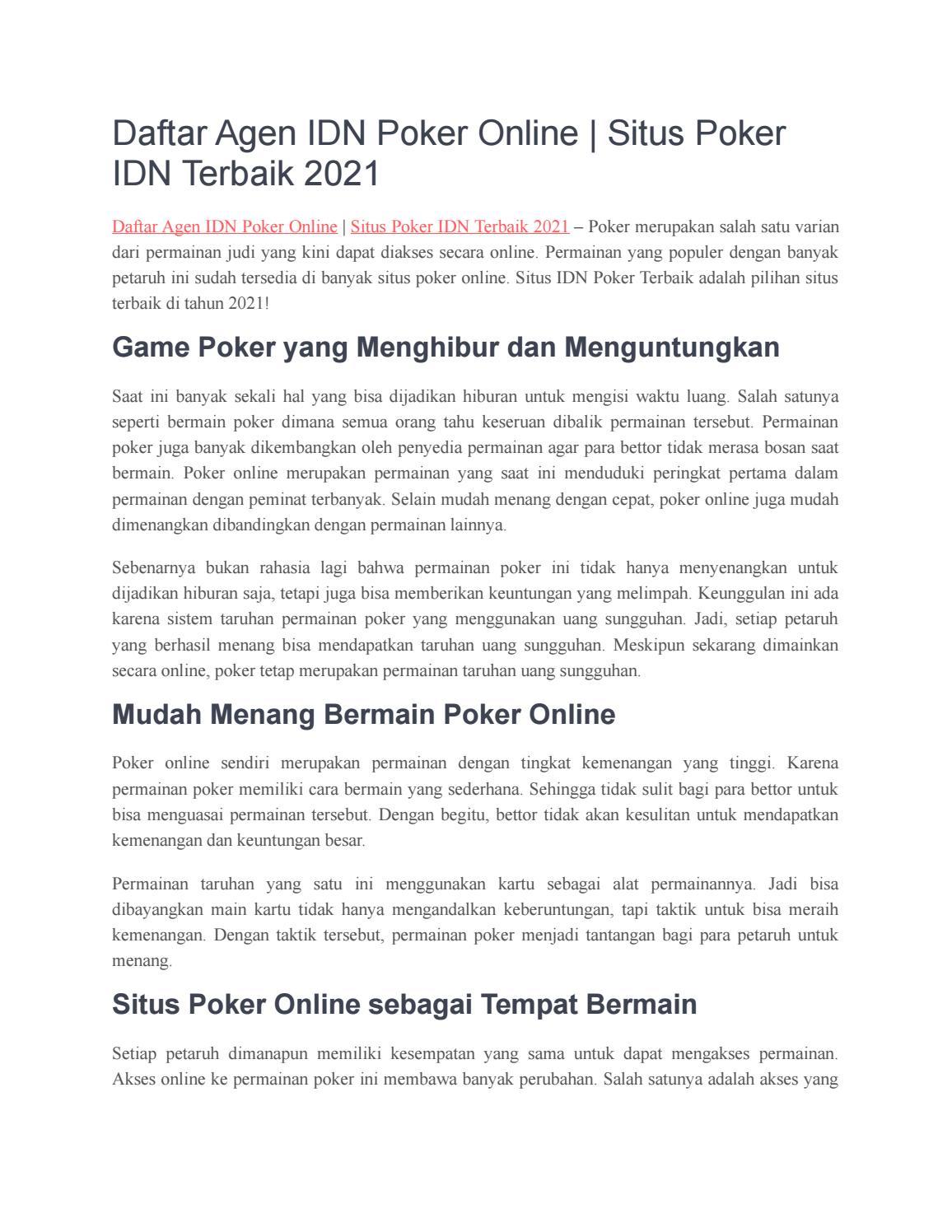 Daftar Agen Idn Poker Online Situs Poker Idn Terbaik 2021 By Aseppaku002 Issuu