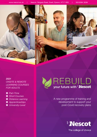 Nescot College Ewell Adult Part Time Prospectus 2020 21 By Nescot College Issuu