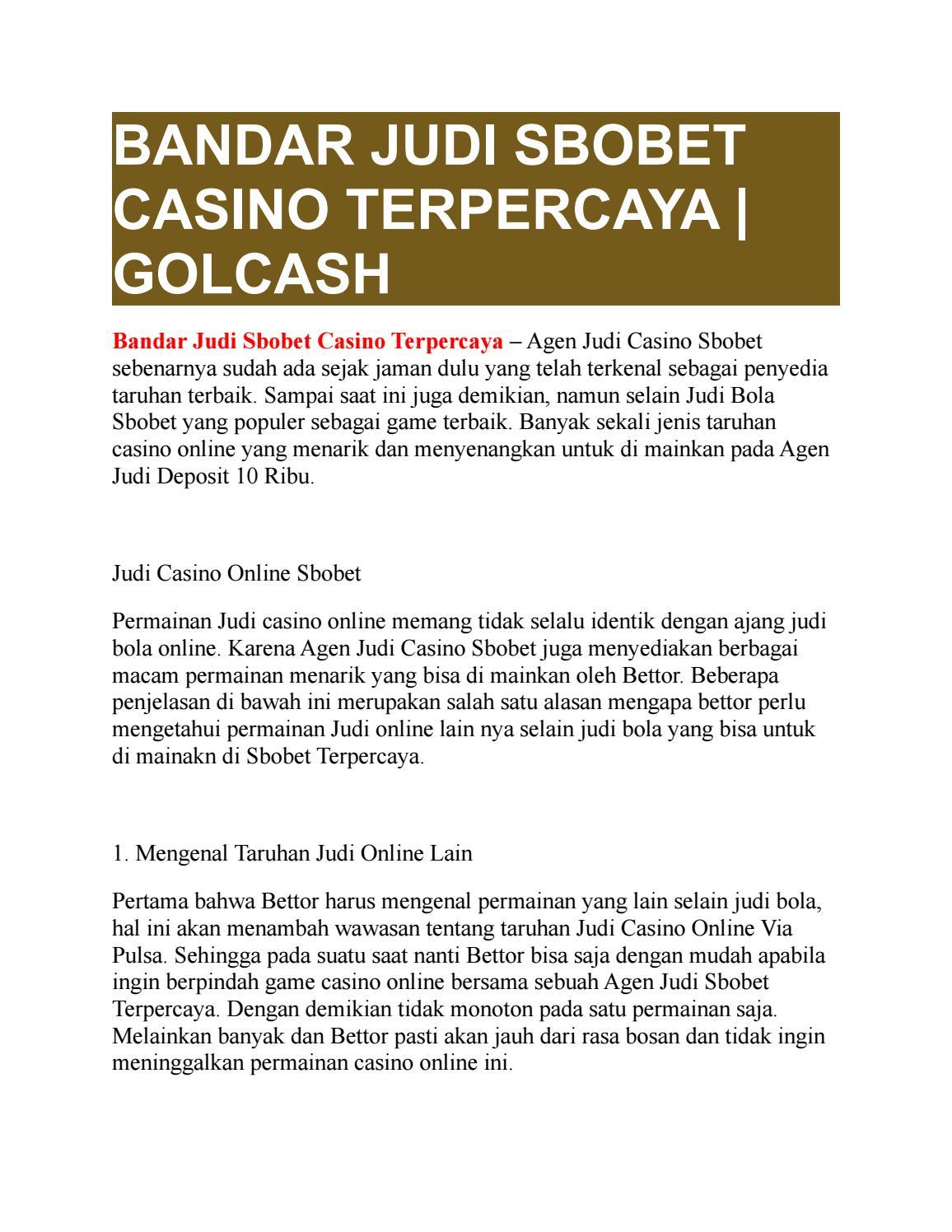 Bandar Judi Sbobet Casino Terpercaya Golcash By Golcash Issuu