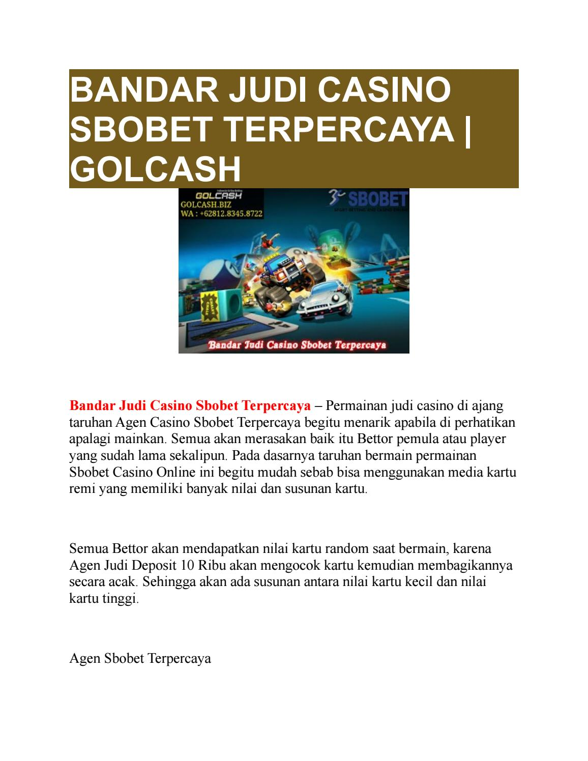 Bandar Judi Casino Sbobet Terpercaya Golcash By Golcash Issuu