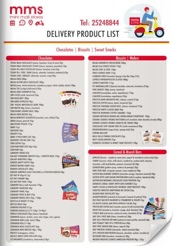 MMS - Mini Mall Stores. MMS Delivery Menu - Delivery product list