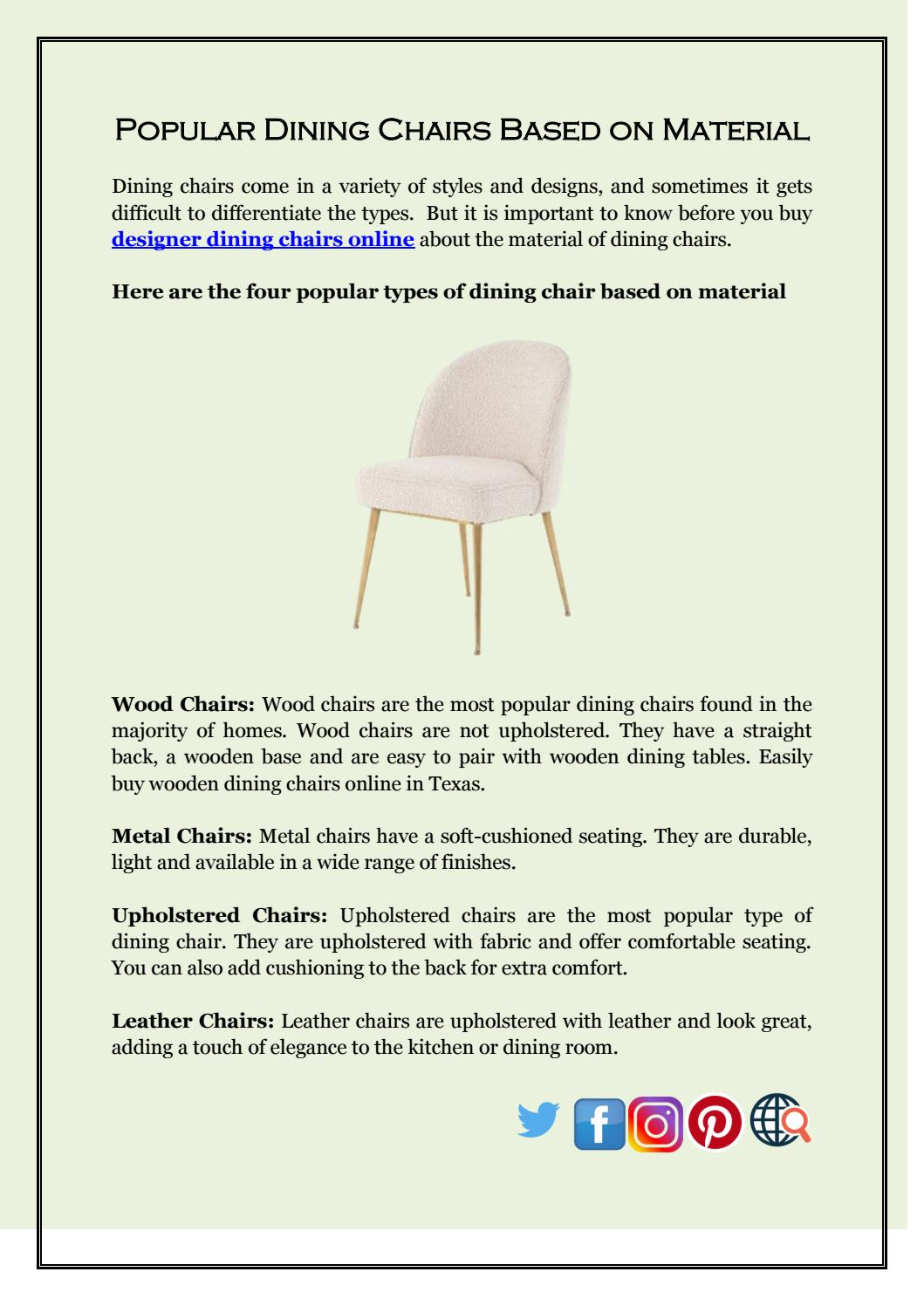 Popular Dining Chairs Based On Material By The Khazana Issuu