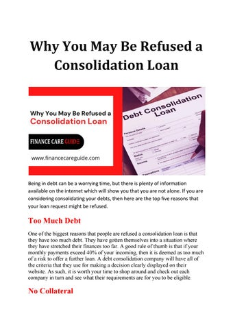 Why You May Be Refused a Consolidation Loan by Finance Care Guide - issuu