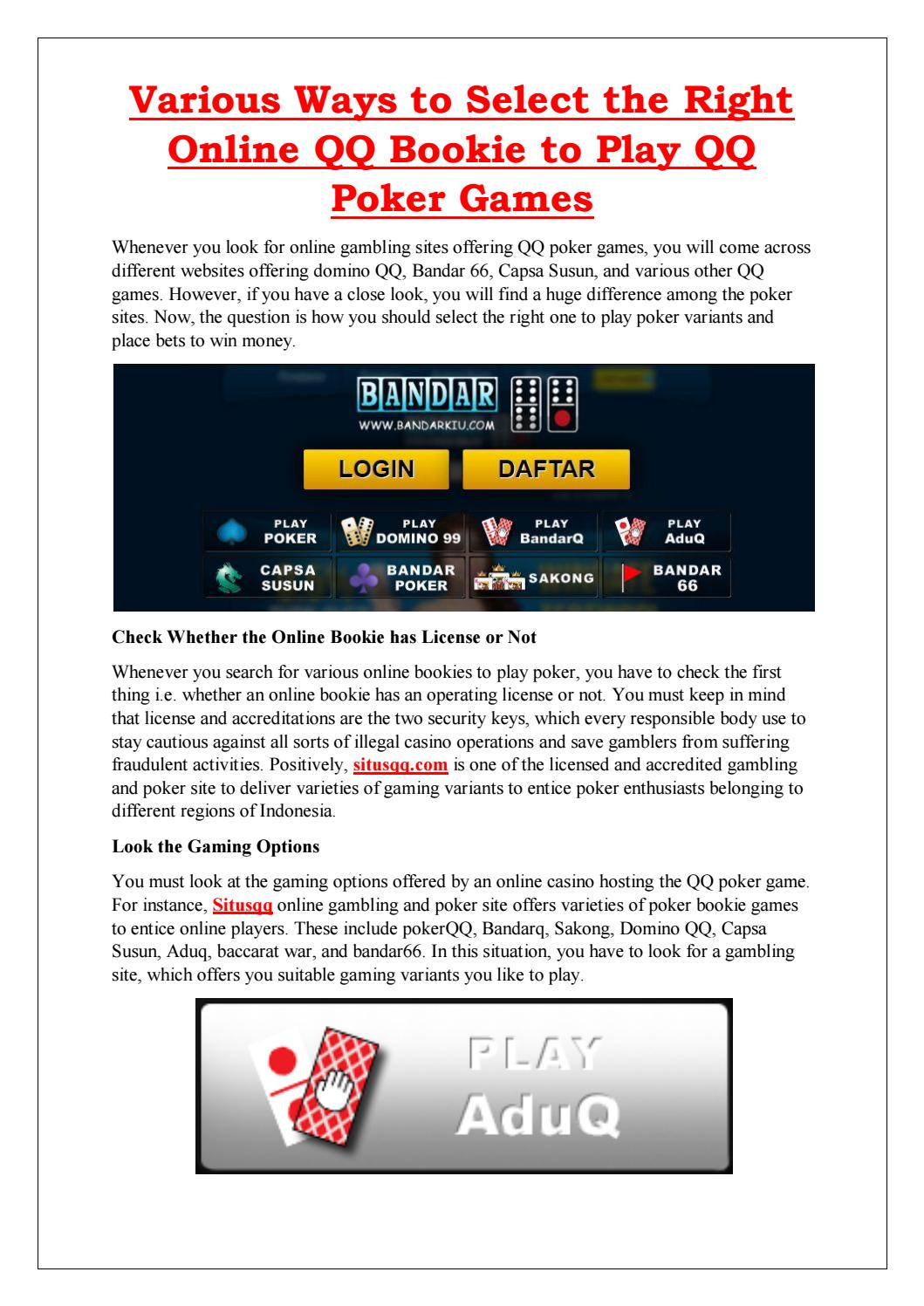 Situs Qq Online Judi Poker Pkv Games Dominoqq Terpercaya By Lee Smith Issuu