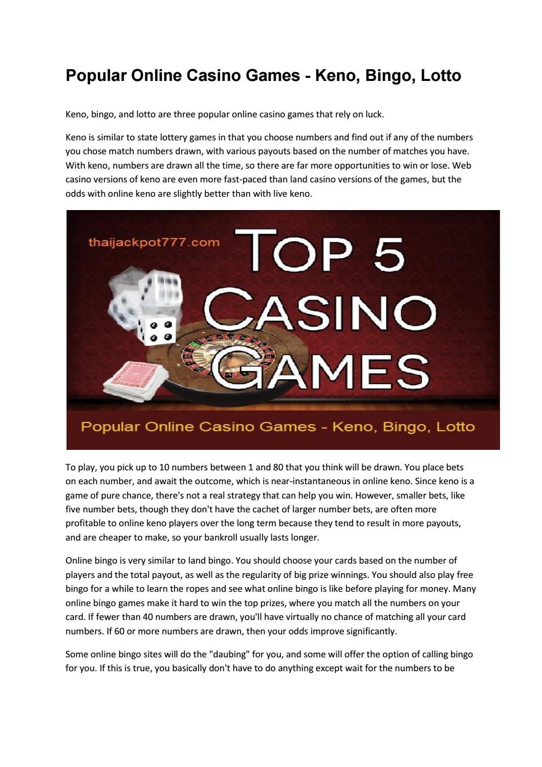 Popular Online Casino Games Keno Bingo Lotto By Thai Jackpot777 Issuu