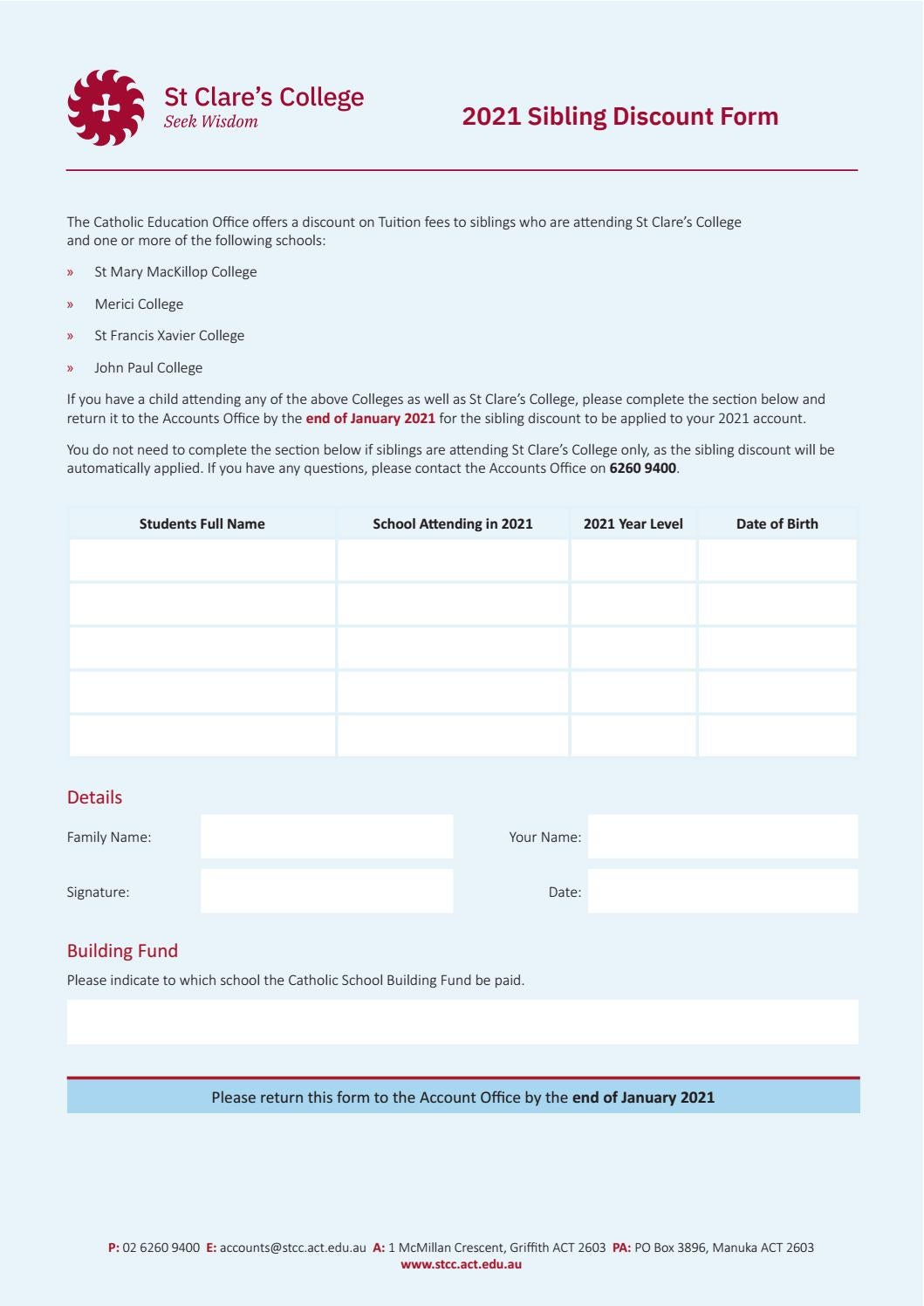 Sibling Discount Form