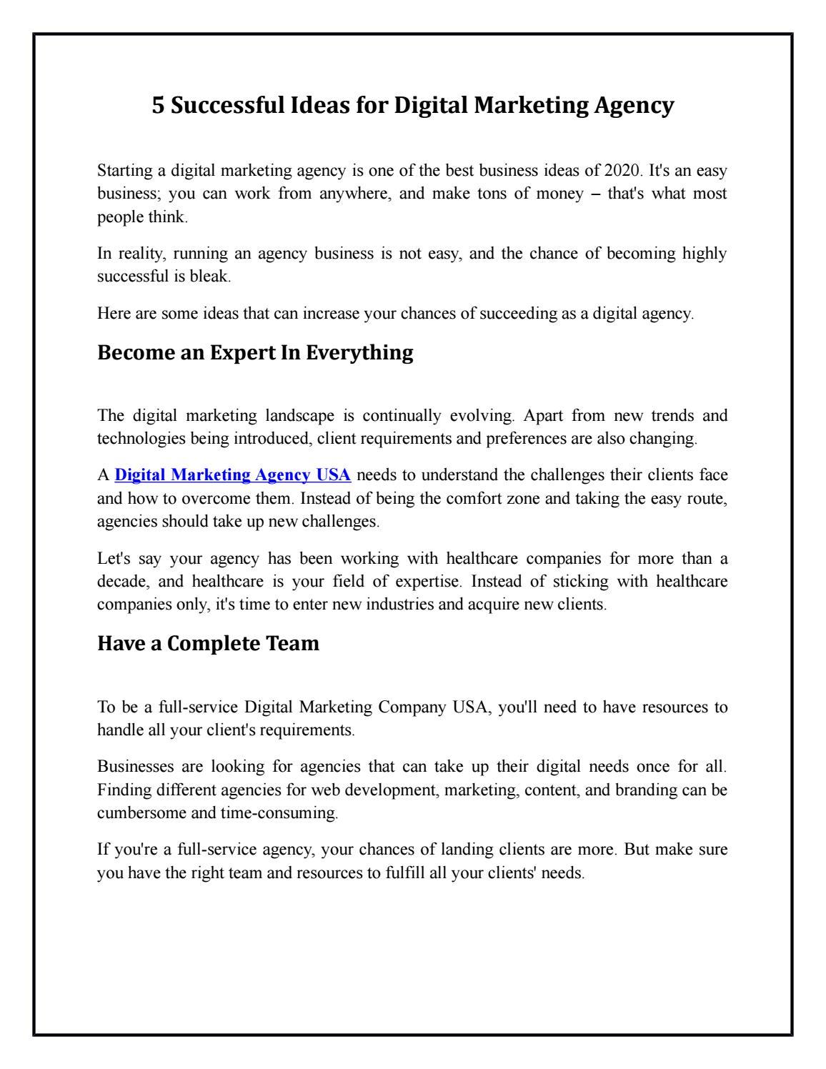 5 Successful Ideas for Digital Marketing Agency