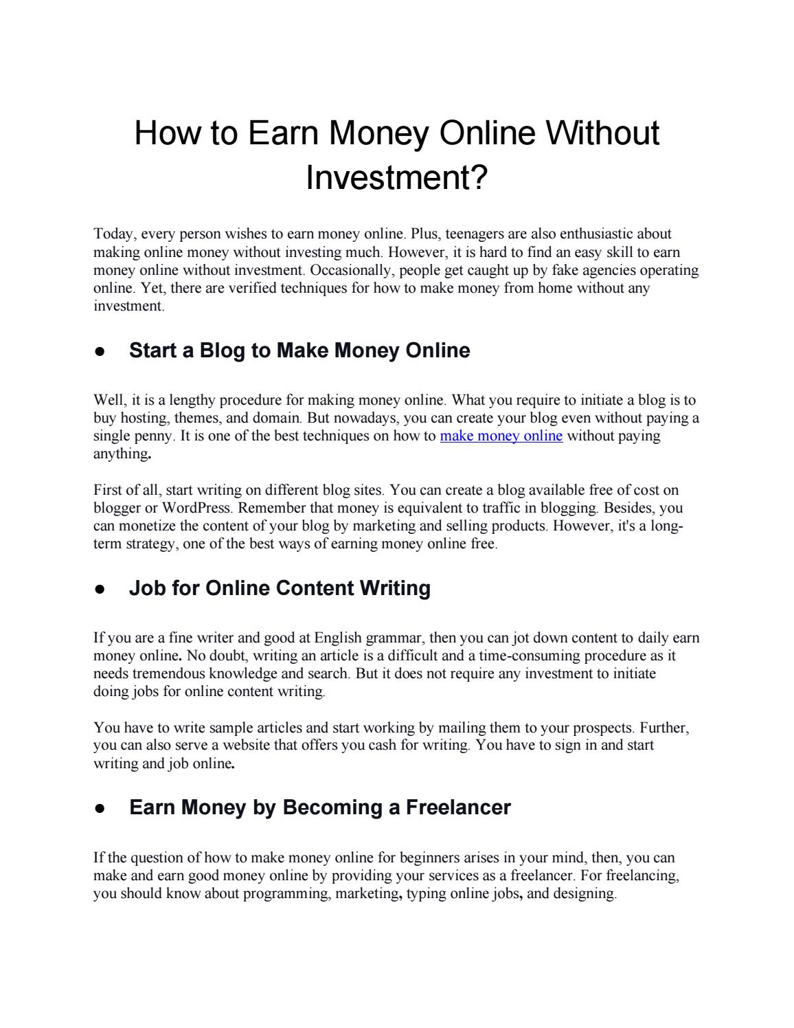 pay to write investments content