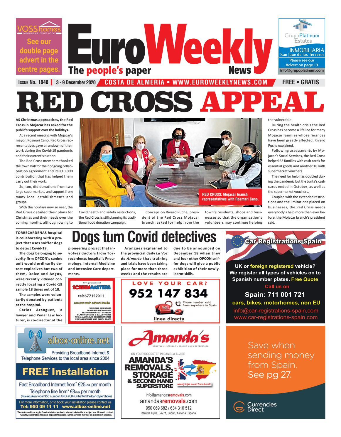 Euro Weekly News Costa De Almeria 3 9 December 2020 Issue 1848 By Euro Weekly News Media S A Issuu