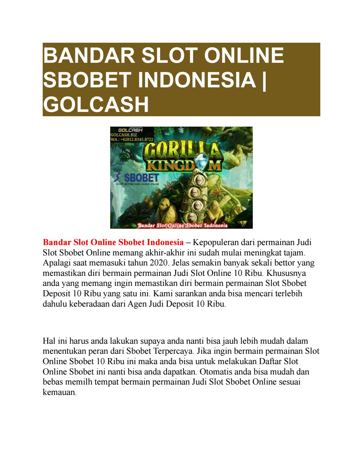 Bandar Slot Online Sbobet Indonesia Golcash By Golcash Issuu