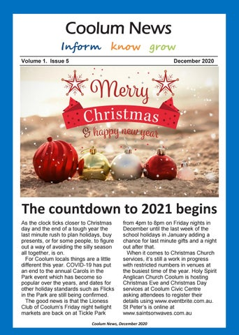 Countdown To Christmas 2021 News Coolum News December 2020 By Your Community Media Pty Ltd Issuu