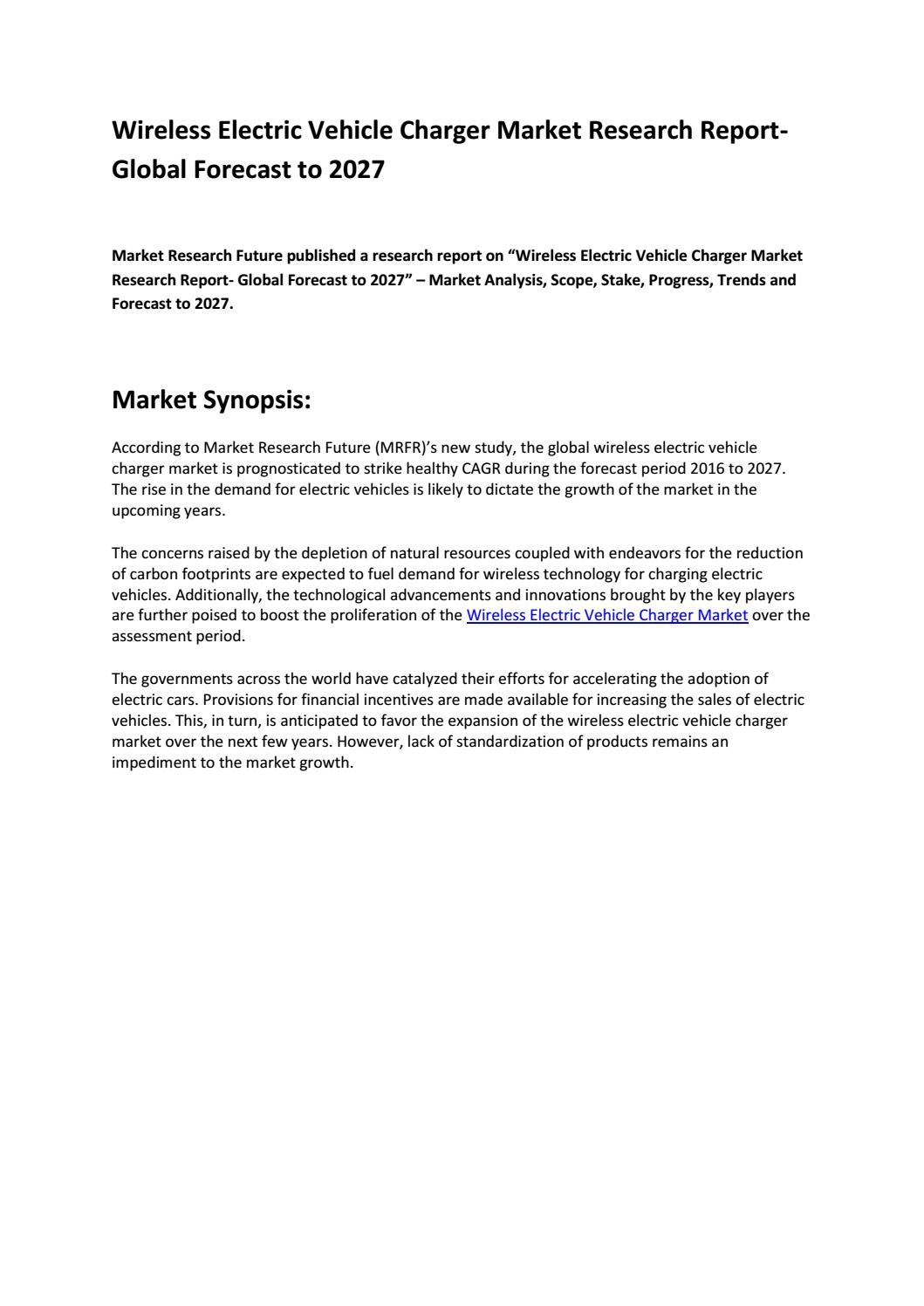 Wireless Electric Vehicle Charger Market Size Revenue And Forecast 2027 By Market Research Future Reports Issuu