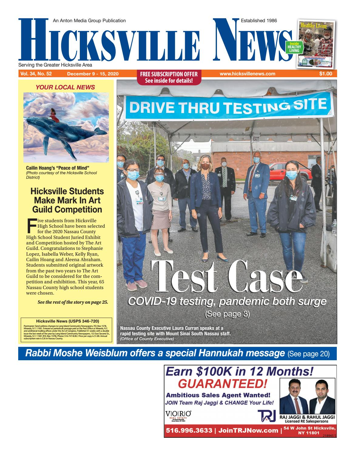 Hicksville News 12 9 2020 Edition Is Published Weekly By Anton Media Group By Anton Community Newspapers Issuu