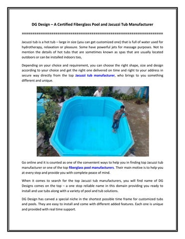 Dg Design A Certified Fiberglass Pool And Jacuzzi Tub Manufacturer By Dg Design Issuu