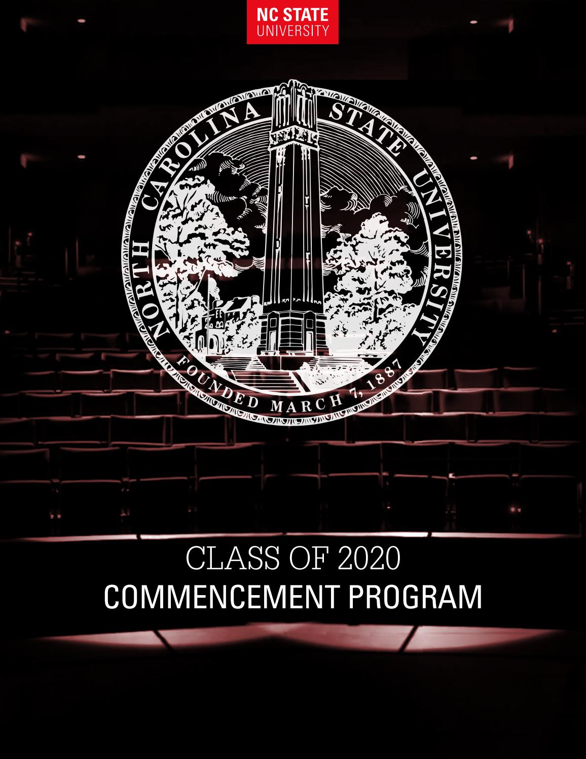 Nc State University 2020 Commencement Program By Nc State Enrollment Management And Services Issuu