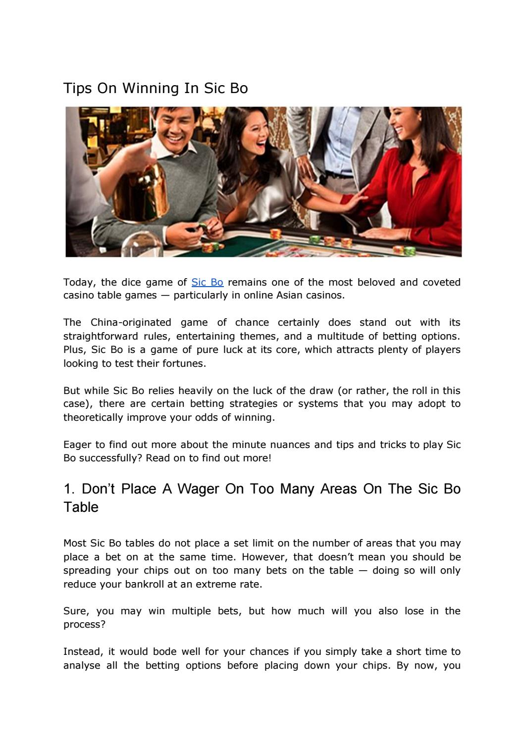 Tips On Winning In Sic Bo By Mymega888 Issuu