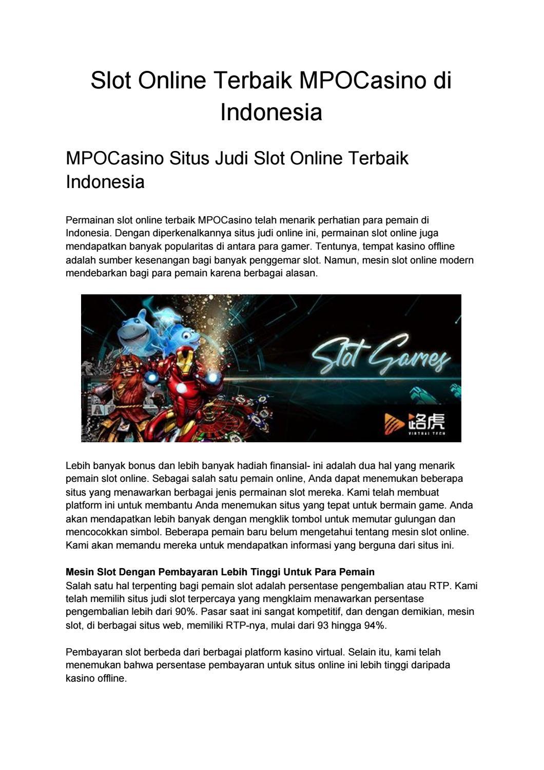Slot Onnline Terbaik Mpocasino Di Indonesia By Mpocasino Issuu
