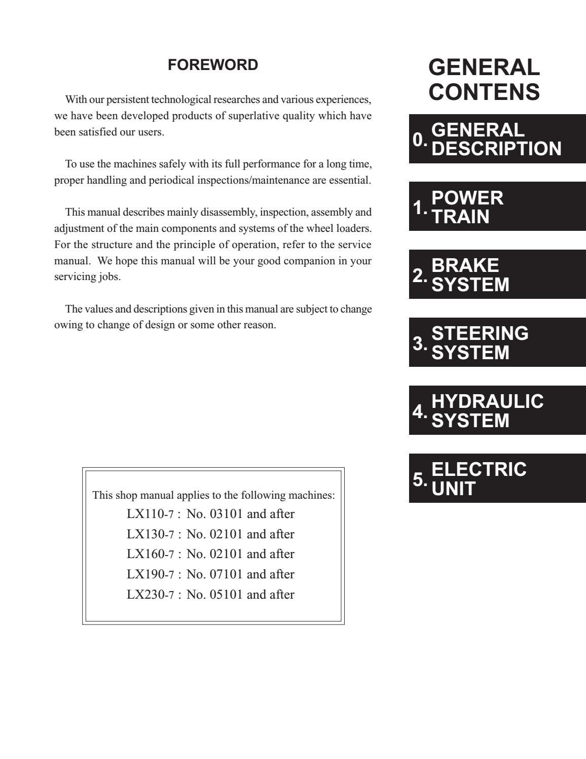 Hitachi LX110-7 LX130-7 LX160-7 LX190-7 LX230-7 Wheel Loader Workshop Manual - PDF DOWNLOAD page 5