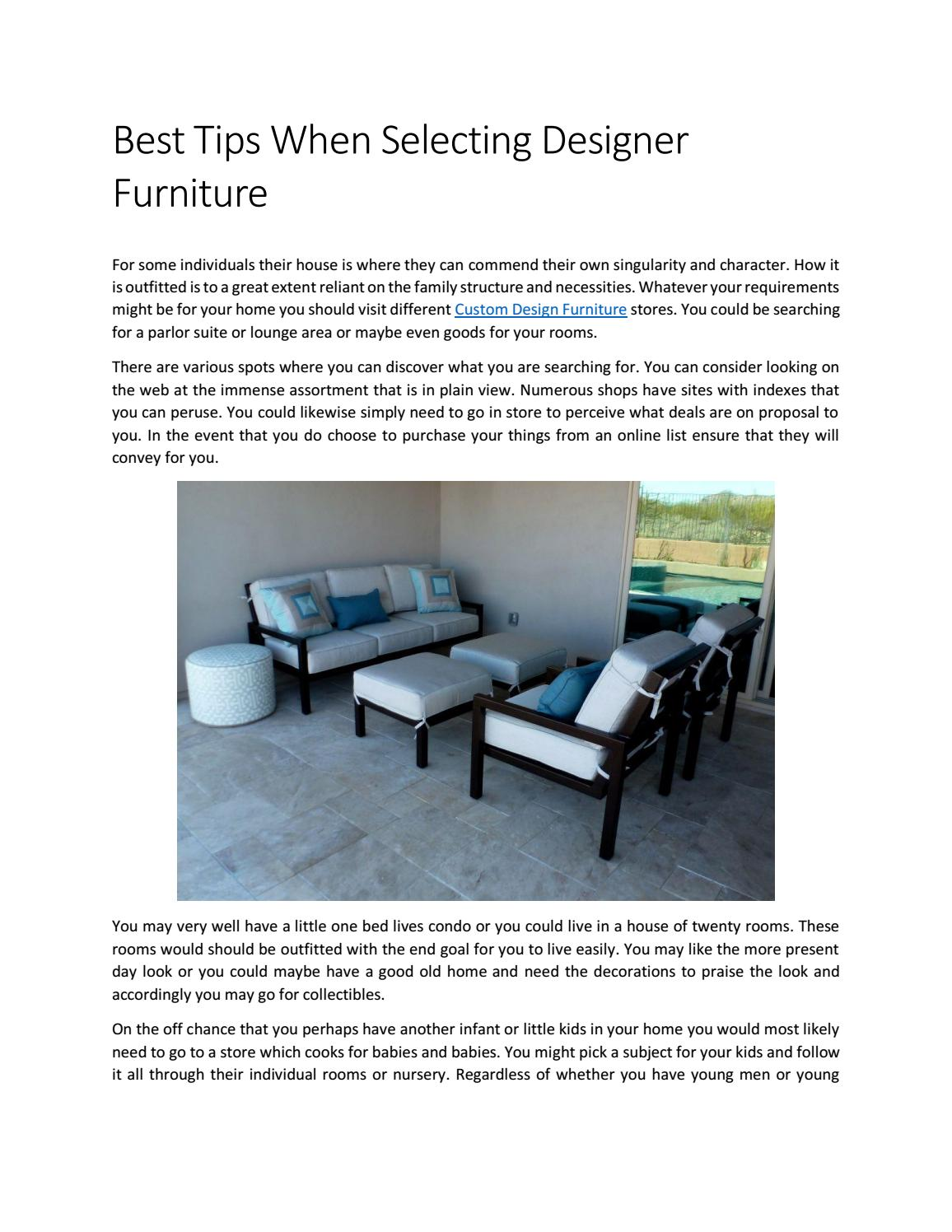 Best Tips When Selecting Designer Furniture By Arizonafurniture85 Issuu