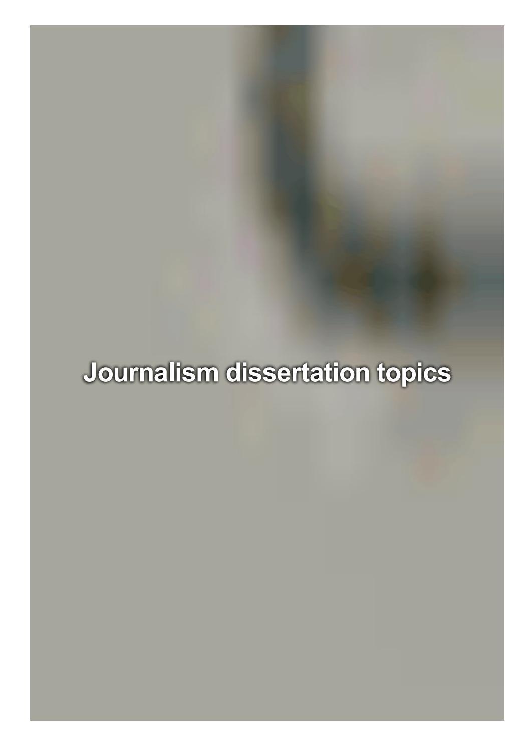 journalism dissertation