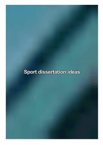 Sport dissertation ideas writing chapter four dissertation