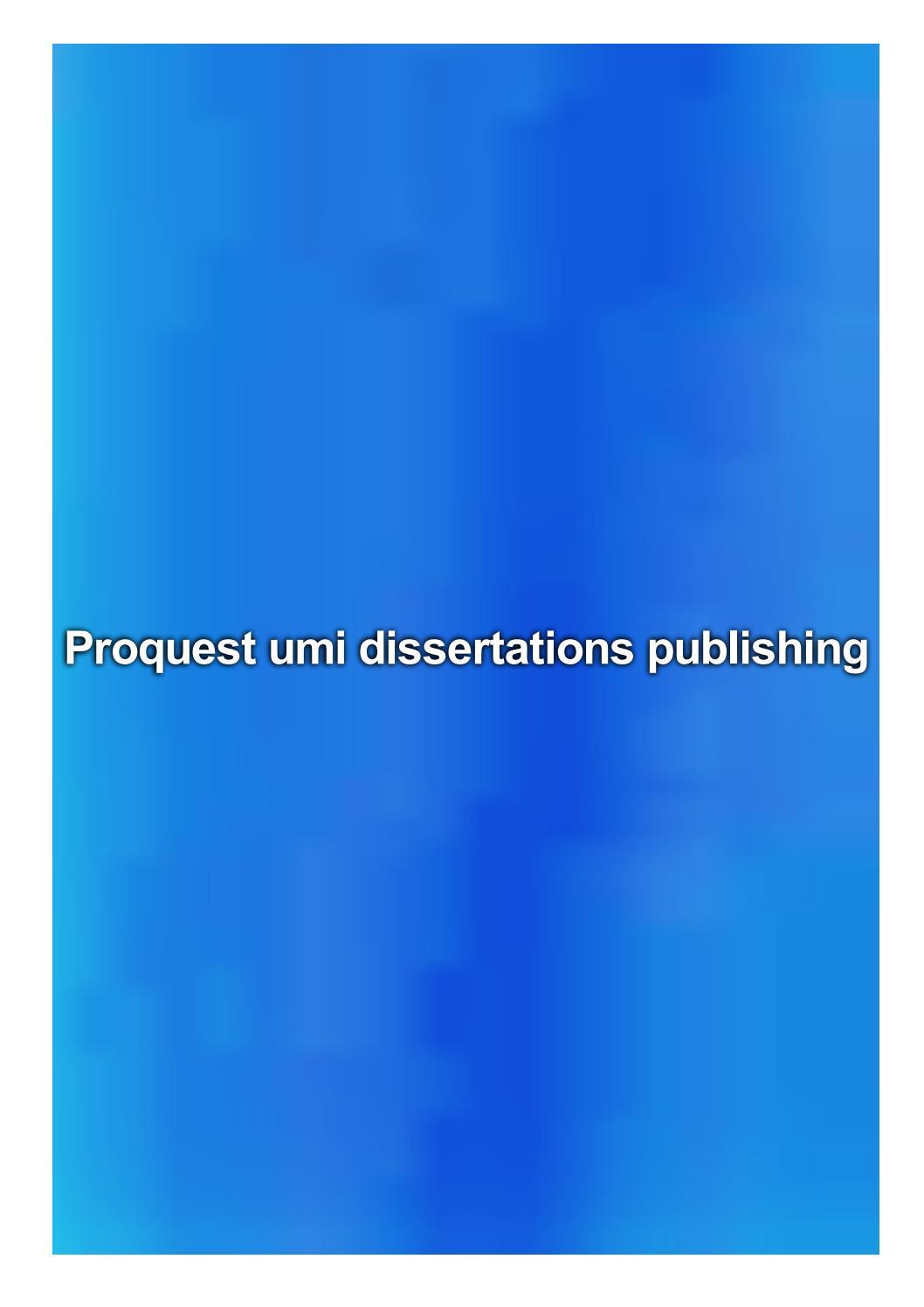 Umi dissertations publishing template for dissertation