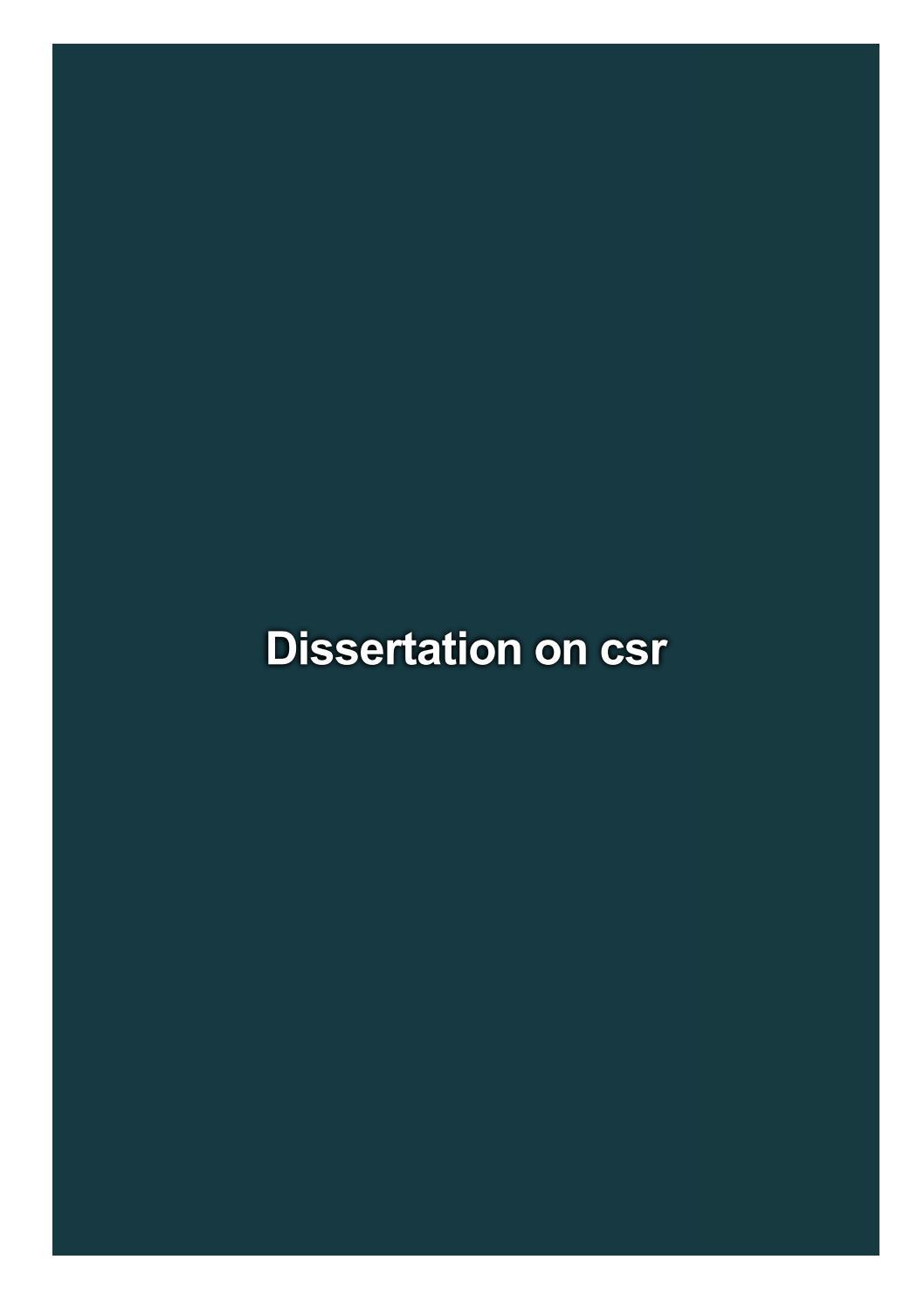 Csr dissertation term paper format apa