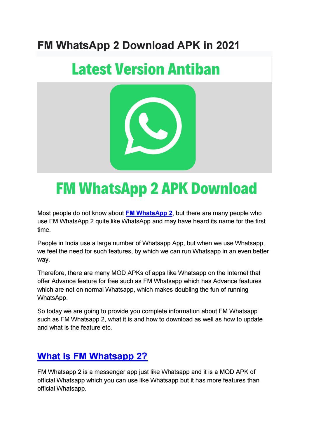 Fm Whatsapp 2 Download Apk In 2021 By Digital Monk Issuu