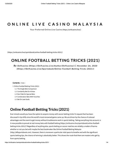 Online football betting tricks toals bookmakers golf betting