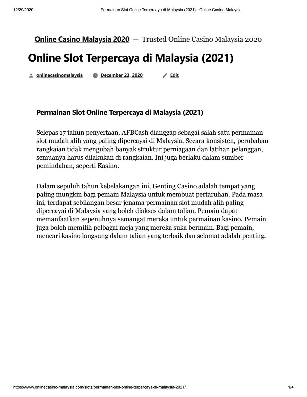 Permainan Slot Online Terpercaya Di Malaysia 2021 By Afb 918kiss Issuu