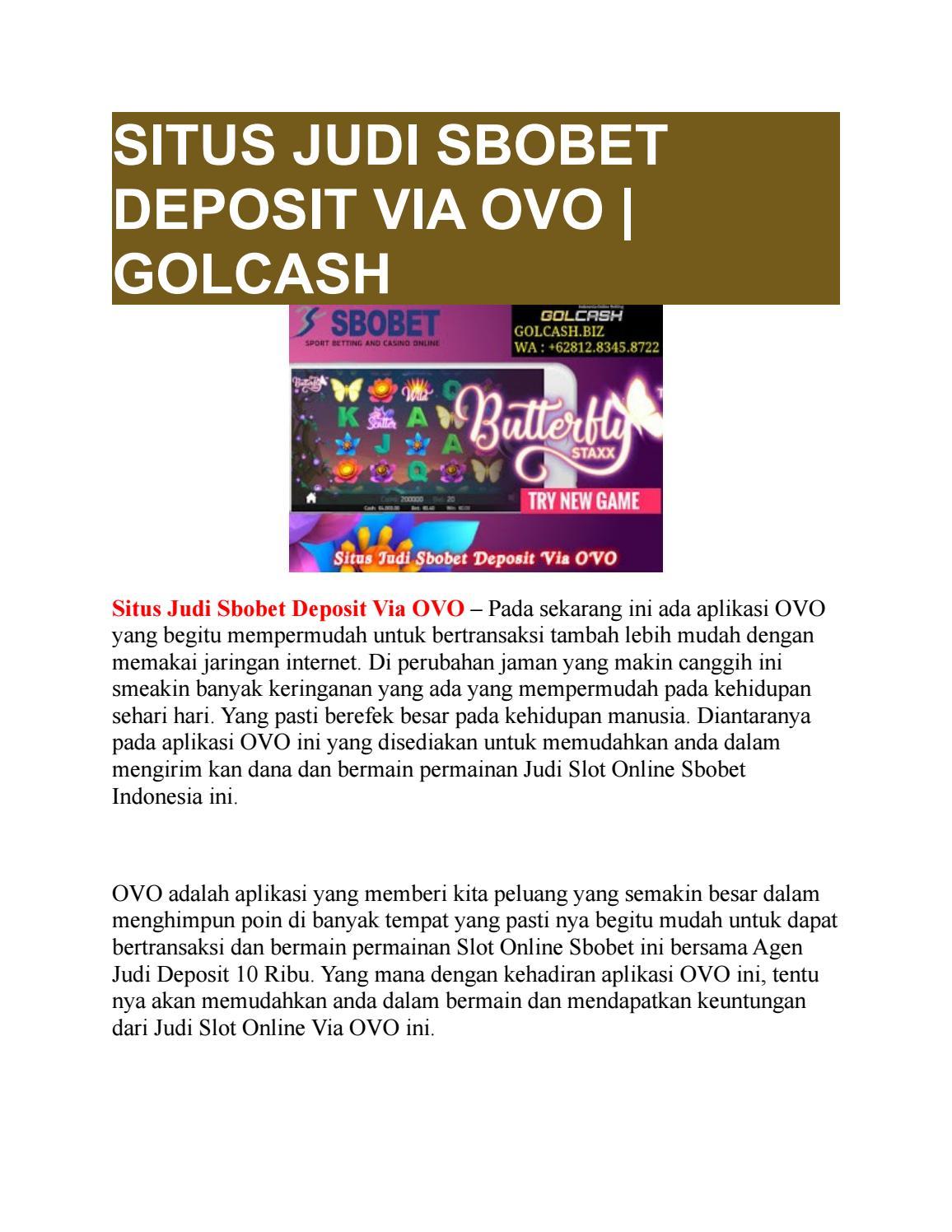 Situs Judi Sbobet Deposit Via Ovo Golcash By Golcash Issuu